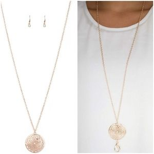 MARVELOUS IN MANDALAS ROSE GOLD LANYARD/EARRING SE